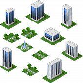 Isometric City Set. Urban Landscape 3d Elements To Design Cityscape. Big Modern Buildings, Street, T poster