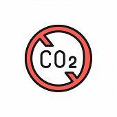 No Carbon Emissions, Co2 Emissions Sign Flat Color Line Icon. poster
