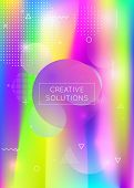 Liquid Shapes Background With Dynamic Fluid. Holographic Bauhaus Gradient With Memphis Elements. Gra poster