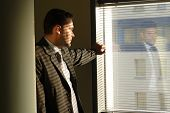 Business Man Looking Through Window Blinds