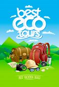 Best eco tours, best vacation deals design concept with bag and backpack, sunglasses, rasterized ver poster
