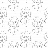 Seamless Pattern With Outline Silhouette Of Woman Portrait With Long Hair. Modern Avant- Garde Poste poster