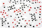 stock photo of playing card  - Multiple Playing Cards on a Plain Background - JPG