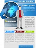 Vector abstract business brochure background with globe and man