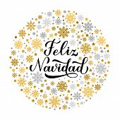Feliz Navidad Calligraphy Hand Lettering With Gold And Silver Snowflakes, Stars And Dots. Merry Chri poster
