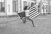National Holiday. Girl Cheerful Jumping. 4th Of July. American Tradition. American Patriotic People. poster