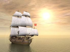 stock photo of pirate ship  - 3d generated scene of pirate ship at sunset - JPG