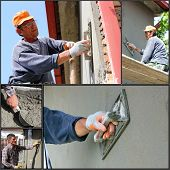 stock photo of overhauling  - Collage of photographs showing builders at facade plastering works - JPG