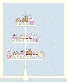 image of three tier  - an illustration of a cake stand for a wedding filled with delicious cupcakes reflecting a marriage theme with a confetti background - JPG