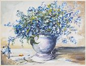 Spring Blue Flowers Oli Painting