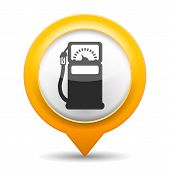 stock photo of gasoline station  - Orange map pin with icon of a gas station - JPG