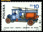 Vintage Postage Stamp. Polski Fiat. 1930.
