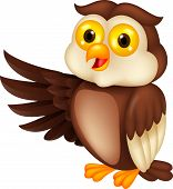 stock photo of animated cartoon  - Vector illustration  of cute owl cartoon waving hand - JPG