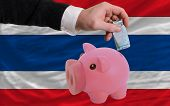 Funding Euro Into Piggy Rich Bank National Flag Of Thailand