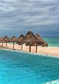image of playa del carmen  - Pool overlooking the Caribbean Sea in Playa del Carmen, Mexico. ** Note: Slight graininess, best at smaller sizes - JPG