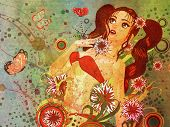 Grunge Red Bikini Girl On Floral Background