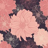 Flores dibujadas a mano de dahlia.