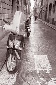 Street In Florence With Motorbike Scooter, Italy