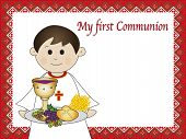 image of eucharist  - a illustration for first communion for boy - JPG