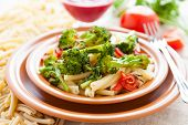 stock photo of spears  - Nutritious pasta with roasted vegetarian vegetables - JPG