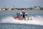 picture of outboard engine  - Coastguard boat off Hatters on the outer banks