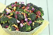 picture of shredded cheese  - Broccoli made with fresh broccoli cheddar cheese red onion bacon with mayonnaise sugar and vinegar dressing - JPG