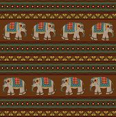 stock photo of indian elephant  - Seamless indian pattern with elephant - JPG