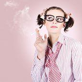 Stressed Geeky Office Worker On Smoke Break