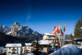 stock photo of italian alps  - Ski Resort In Italian Alps - JPG