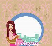 Stylish Girl Shopping , Abstract Card