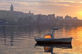 Boat In Golden Horn At Dawn