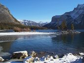 Lake Minnewanka In Winter