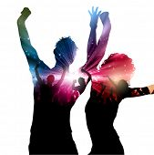 Party background with decorative people design