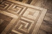 Old Oak Parquet Fragment With Decoration Pattern Element