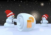 Two Snowman With Smart Phone Symbol