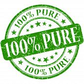 100% Pure Grunge Green Round Stamp