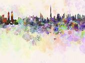Dubai Skyline In Watercolor Background