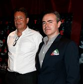 NEW YORK-AUG 19: Screenwriter Steven Knight (L) and director John Crowley attend the 'Closed Circuit