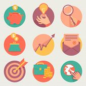 stock photo of piggy  - Vector business and finance icons and sign in flat style - JPG