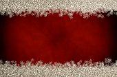 Christmas Glitter Snowflake Border On Red