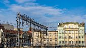 pic of tenement  - Cityscape of Katowice Silesia region Poland with old tenements preceded by the railroad - JPG