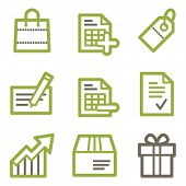 Shopping icons, green line contour series