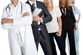 pic of crop  - Cropped image of people with different professions on white background - JPG