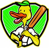stock photo of crested duck  - Illustration of a duck cricket player batsman with bat batting facing front set inside shield with sunburst done in cartoon style - JPG