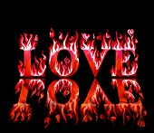 Word love in flames in red and pink with reflection, on black background