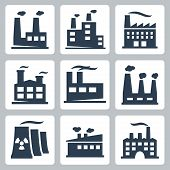 stock photo of sweatshop  - Vector isolated factory icons set over white - JPG