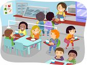 stock photo of canteen  - Illustration of Kids in a Canteen Buying and Eating Lunch - JPG