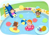 Illustration of Kids Having a Pool Party