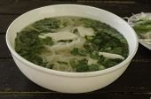 Close up photo of Pho Ga Vietnamese Chicken Noodle Soup