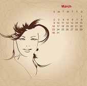 Artistic Vintage Calendar For March 2014.